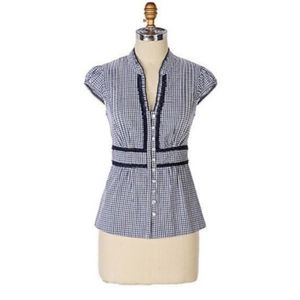 Anthropologie Odille Checkered Blouse